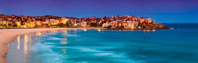 Panoramic view of Bondi Beach in Sydney, at sunset