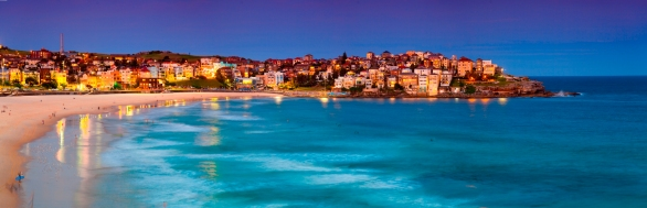 Panoramic view of Bondi Beach in Sydney, at sunset